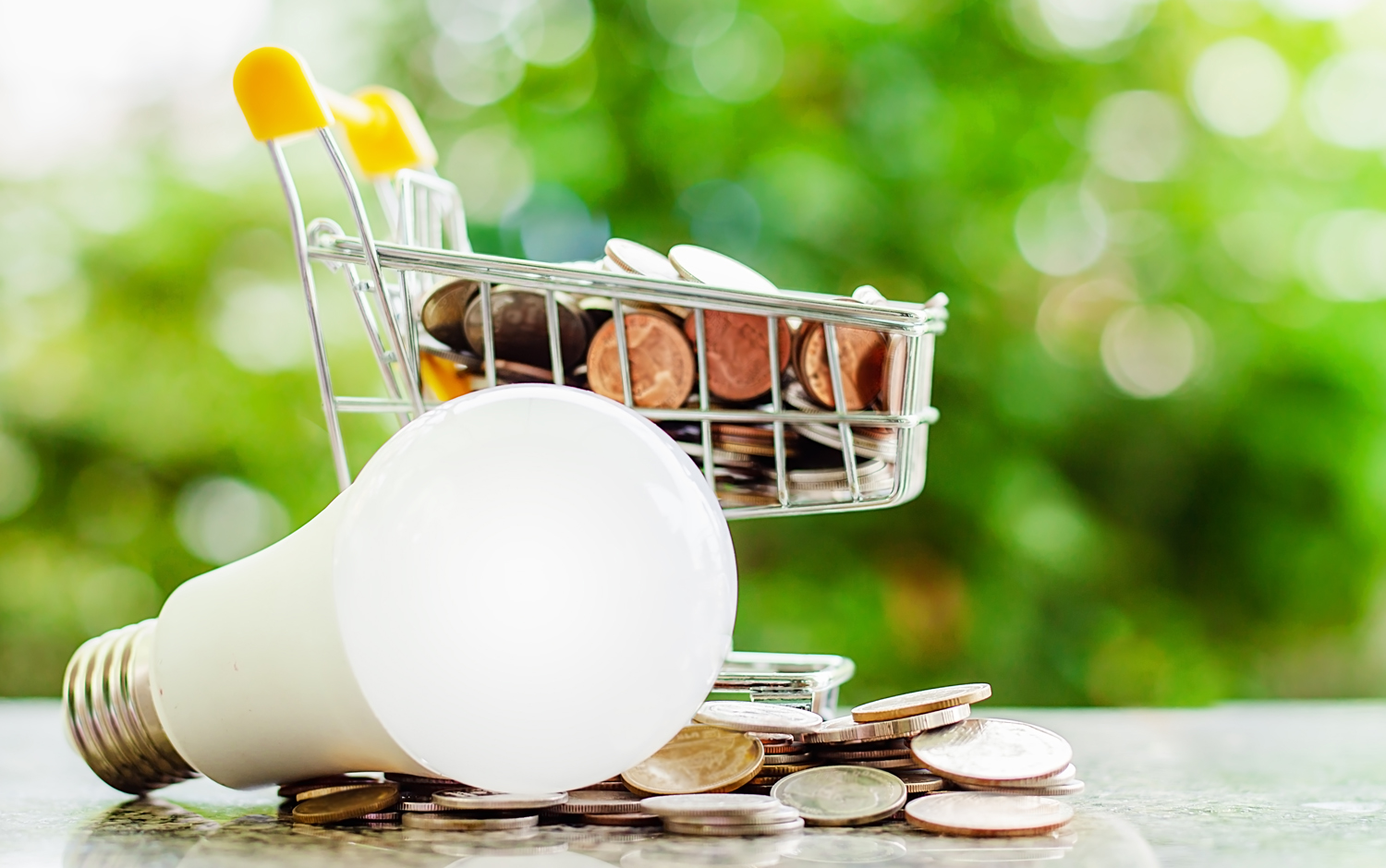 Full of money coin in mini shopping cart or trolley with led lamp and glowing light bulb against blurred natural green background for finance, saving energy and environment concept